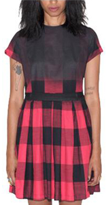 WOMEN'S GINGHAM PLEATED DRESS