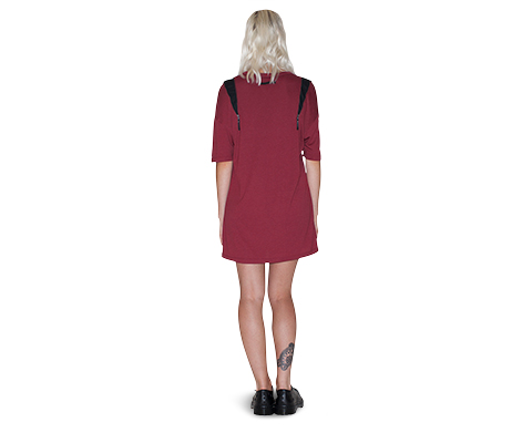 Womens Zip Shoulder T-Shirt Dress