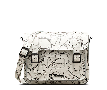 "11"" Leather satchel WHITE AB005110"