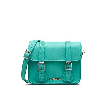 "7"" Leather Satchel AQUA AB017440"