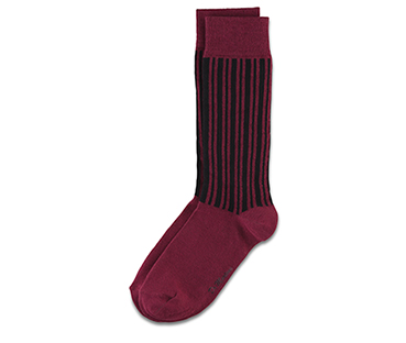 Vertical Stripe Sock BLACK+OXBLOOD AC466001