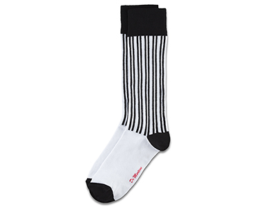 Vertical Stripe Sock WHITE+BLACK AC466101