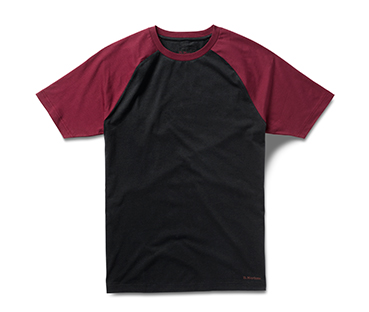 BLACK WITH OXBLOOD RAGLAN PRINT