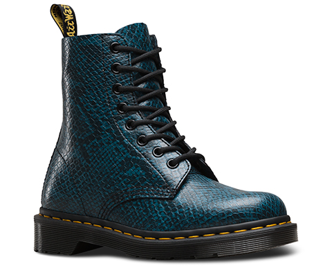 Shoes Bright Blue Crocodile Skin Lace Up Martin Boots For Women
