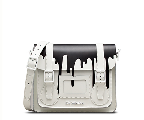 "11"" Leather satchel WHITE AB005108"