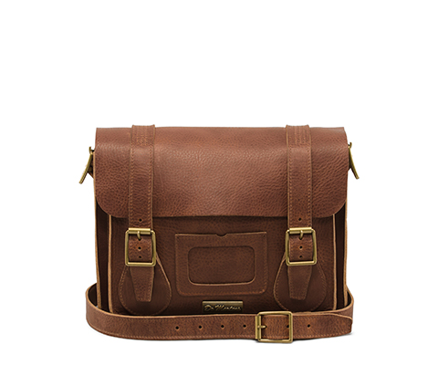 "11"" Leather satchel TAN AB005220"