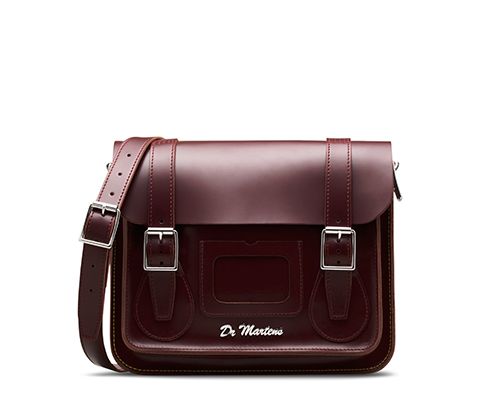 "11"" Leather satchel CHERRY RED AB005605"