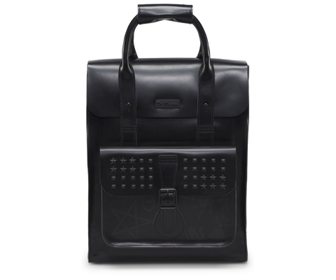 Small Leather Backpack BLACK WITH CHARCOAL LOGO PRINT AB020002