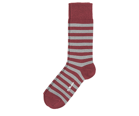 Thin Stripe Short Sock GREY+RED AC226010