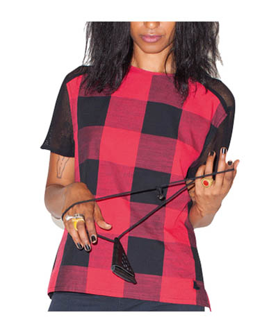 WOMEN'S MESH BACK TOP RED/BLACK GINGHAM AC412613
