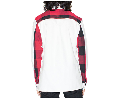 MEN'S LS GINGHAM PANEL SHIRT WHITE WITH RED & BLACK GINGHAM AC435100