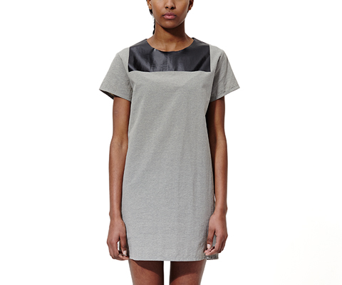 Women's Melange T-Shirt Dress GREY+BLACK AC448060