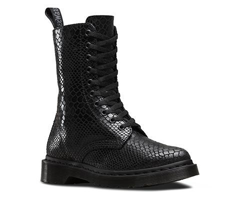 Dr Martens Womens Black Hi Boot Boots Alix 10 Eye Zip Shine Snake