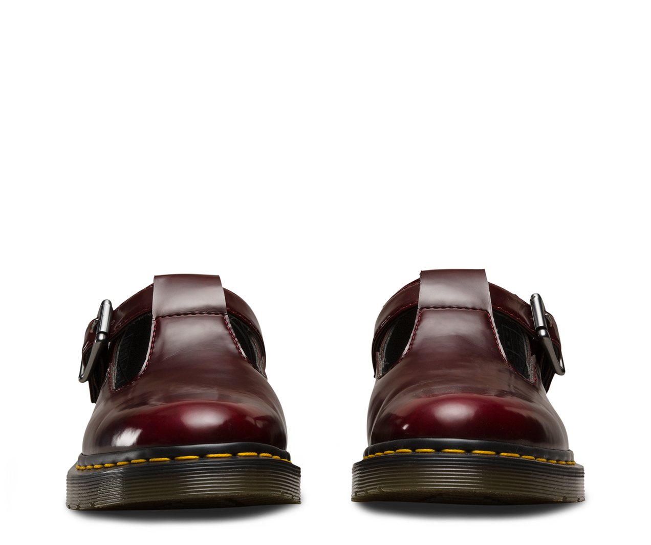Dr. Martens Vegan Polley Cherry Red Cambridge Brush, Mary Janes Femme, Rouge (Cherry Red), 41 EU