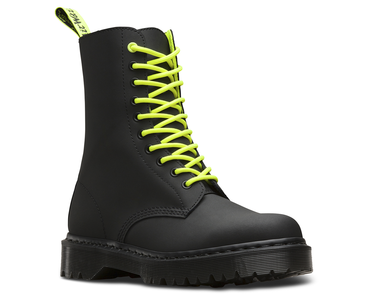 Dr Martens Neon Green Patent Leather Boots Size 6 1/2 Unisex Used