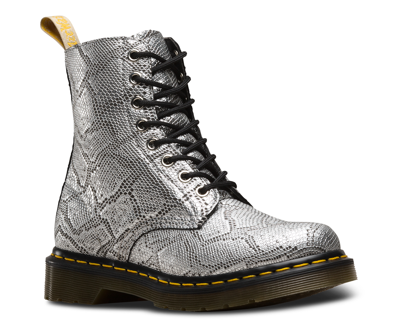 Dr Martens Women's Vegan 1460 Pascal Lace Up Boot Metallic Snake Silver US8/EU39/UK6/CN39 W0wCRI5