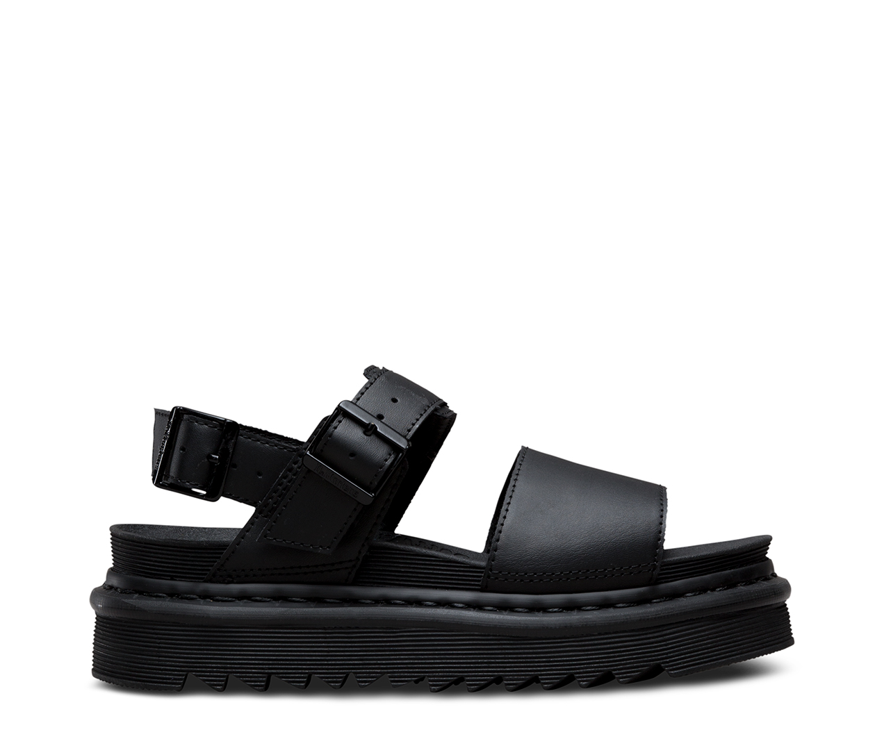 Voss Black Leather Flat Sandals - Black hydro leather Dr. Martens kss0esbV