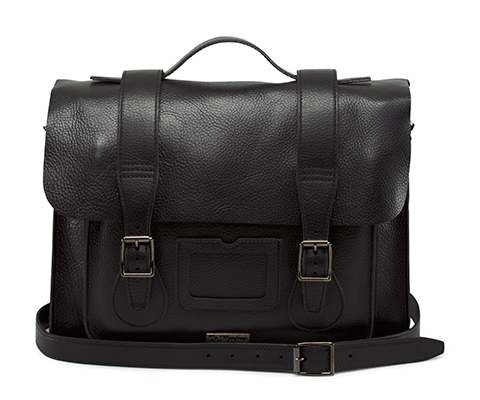 "15"" Leather satchel BLACK AB004012"