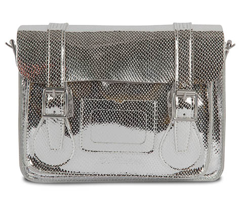 "11"" Leather satchel SILVER AB005051"