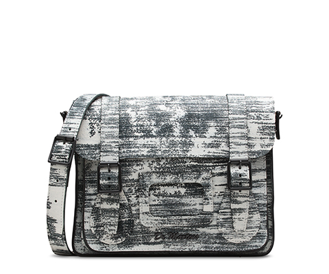 "11"" Leather satchel WHITE+BLACK AB005107"