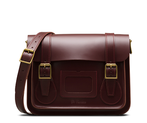 "11"" Leather satchel CHERRY RED AB005602"