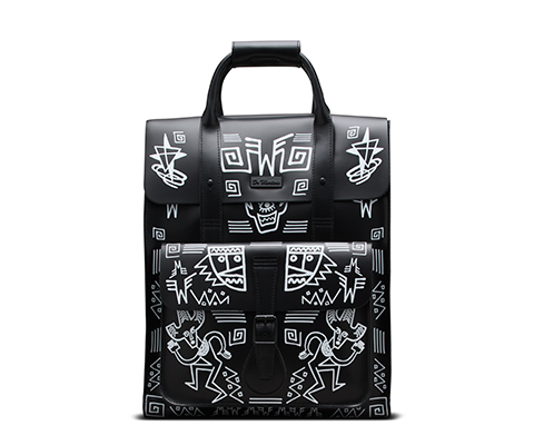 Leather Backpack BLACK URBAN AZTEC PRINT AB012003