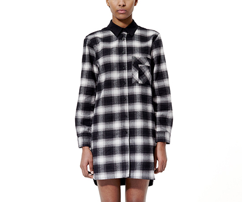 Womens Longline Shirt GREY SHADOW CHECK AC344001
