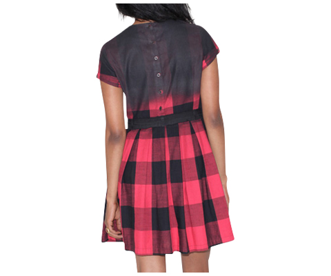 WOMEN'S GINGHAM PLEATED DRESS RED/BLACK GINGHAM AC410613