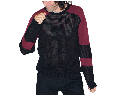 UNISEX BLOCKED SHOULDER JUMPER BLACK+OXBLOOD AC413001