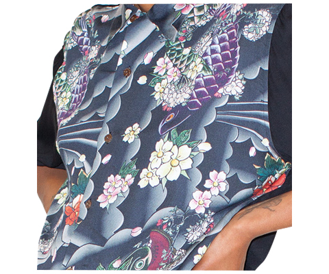 MEN'S HAWAIIAN STYLE SHIRT TATTOO SLEEVE + BLACK AC441001