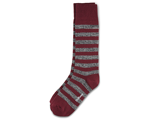 Twisted Yarn Stipe Socks OXBLOOD+GREY AC526601